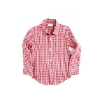 Finskjorte til gutt rødrutet.