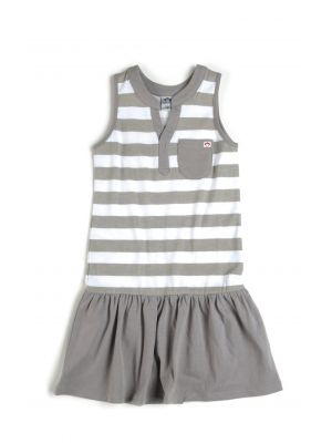 Kjole - Elizabeth Striped Dress, Beige & hvit