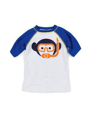 T-Skjorte - UV 50+ Rashguard Mini Olympian, Hvit &blå