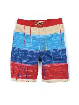 Badeshorts - Swim Trunks Painted Stripes, Blå & rød