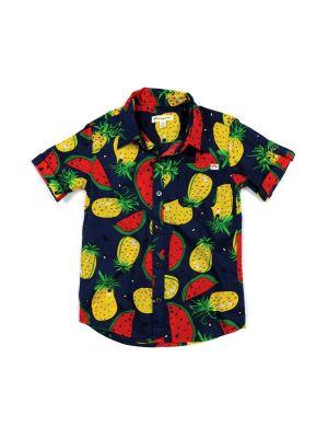 Kortermet skjorte - Pattern Shirt Tropical Fruits, Blå