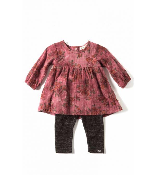 Kjole mini - North sett med tights, rustrød