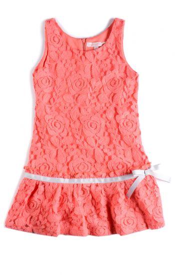 Kjole - Flounce dress Seycelles, Lakserød