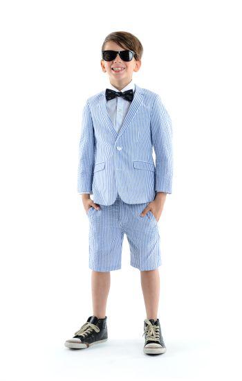 Sommerdress - Fine Tailoring Seersucker Shorts Suit, Blå & hvit stripet