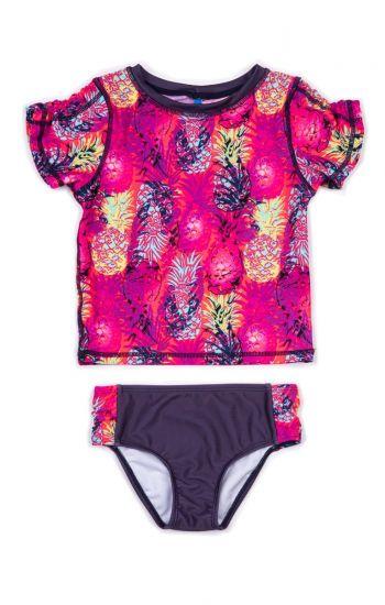 Badetøy - Zuma Neon Pineapple Rashguard sett, Dyp rosa & blå