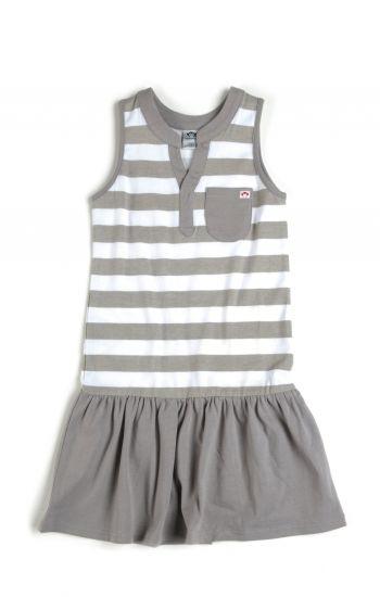 Kjole - Elizabeth Striped Dress, Beige & hvit