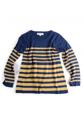 Genser - Tillary Sweater, Blå med gullstriper
