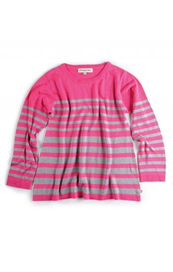 Genser - Tillary Sweater, Rosa med sølvstriper