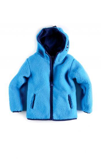 Fleece jakke - Sherpa Hoodie, himmelblå