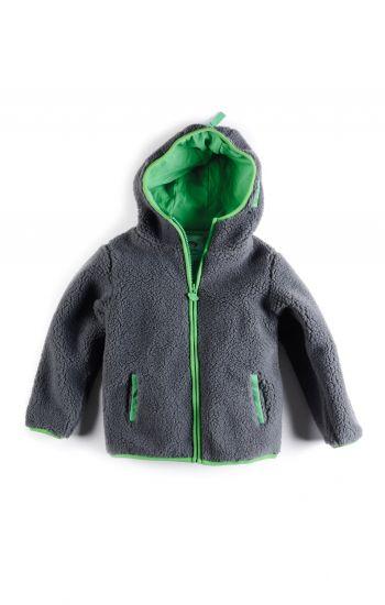 Fleece jakke - Sherpa Hoodie, mørkegrå