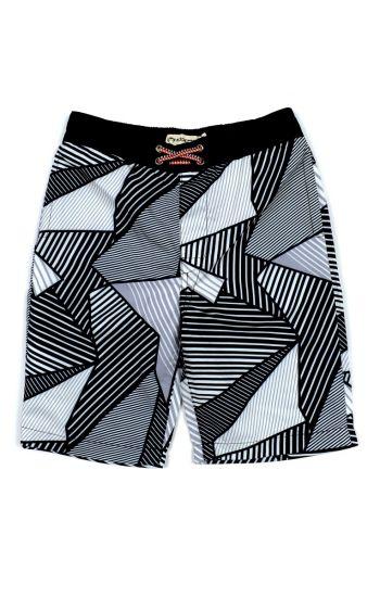 Badeshorts - Swim Trunks Black Pattern, Sort & hvit
