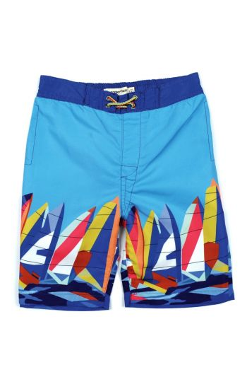 Badeshorts - Sailboats Swim Trunks Mini, Blå