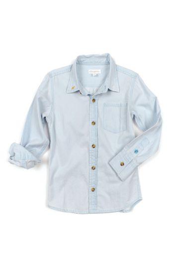 Skjorte - Jonnie Bleached Denim Shirt, Lys blå