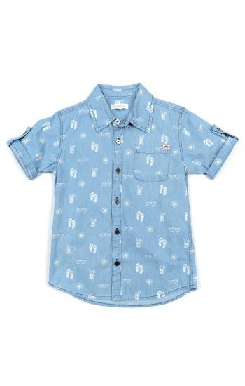 Kortermet skjorte - Sandals Pattern Shirt, lyseblå mønstret