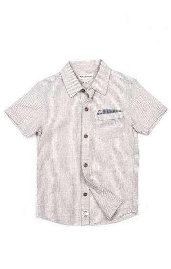 Kortermet skjorte - Mossman Shirt, lysegrå/offwhite striper