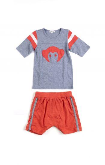 Shorts & T - Track Sett Mini, Rød og grå