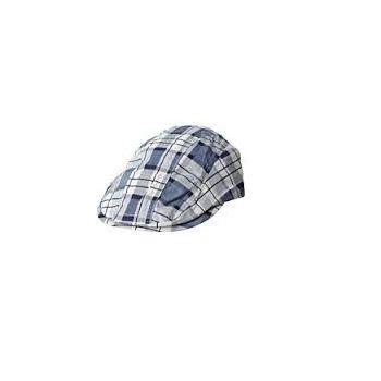 Caps - Plaid Newsboy Cap, Blå & hvit rutet