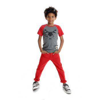 T-skjorte - Skater Raglan, Grå & rød
