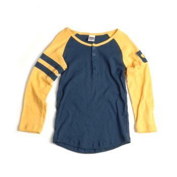 Langermet trøye -Baseball Henley Dijon Mini, Blå & gul