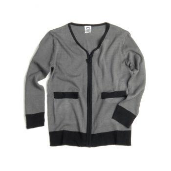 Cardigan - Vintage Zipped, Grå med sorte detaljer