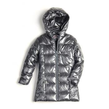 Dunkåpe - Pewter Light Long Down Coat, sølvfarget