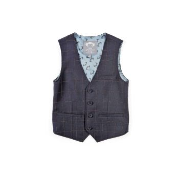 Dressvest - Navy Windowpane rutet, Mørk blå