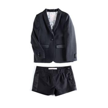 Jente Tuxedo Blazer & Shorts, Sort