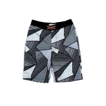 Badeshorts - Swim Trunks Black Pattern, Sort & hvit