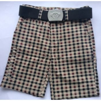 Shorts - Gingham beige rutet, rust/sort