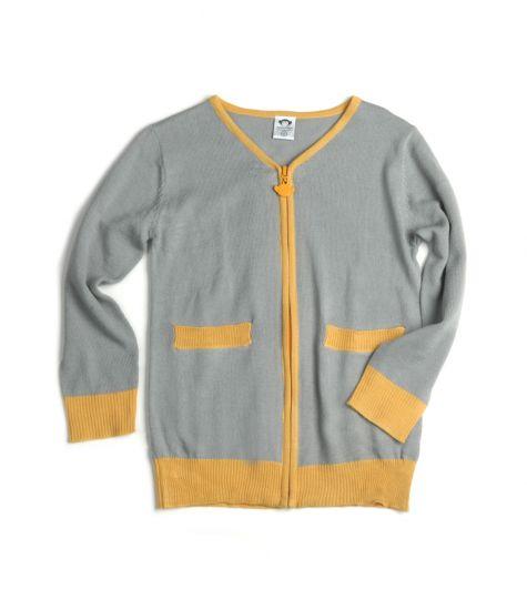 Cardigan - Vintage, Grå med gult