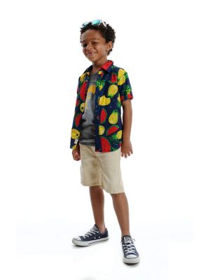 Kortermet skjorte - Tropical Fruits Shirt, blå mønstret