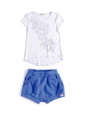 Shorts sett - Mini Circle med T-skjorte, Blå & hvit