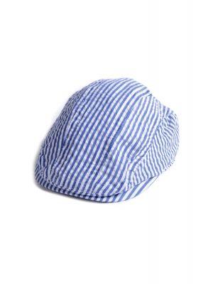 Caps - Seersucker Newsboy Cap, Blå & hvit stripet