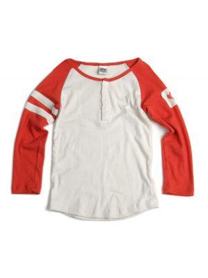 Langermet trøye - Baseball Henley Rust Mini, Hvit & rød