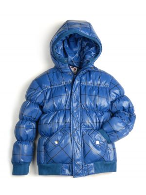 Dunjakke Mini - Puffy Coat Windowpane,  Marineblå med ruter