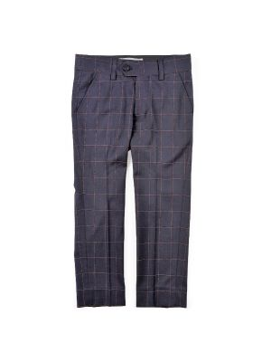 Dressbukse -Navy Windowpane rutet, Mørk blå