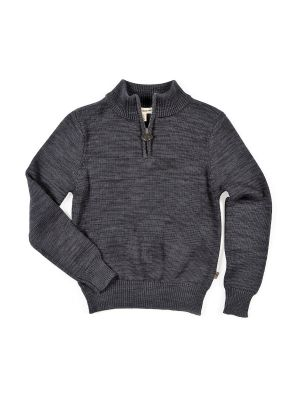 Genser - Mock Neck Sweater, Mørk grå