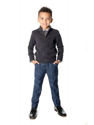 Genser - Mock Neck Sweater, Mørk grå