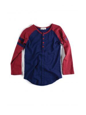 Langermet trøye - Baseball Henley Galaxy, Mini, Blå & rust rød