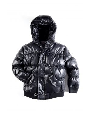 Dunjakke - Puffy Coat Shiny Black, svart