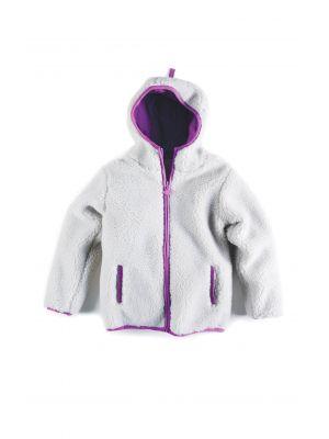 Fleece jakke - Sherpa Hoodie, lysegrå