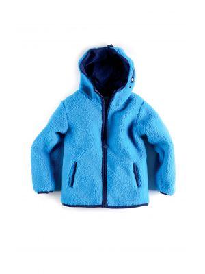 Fleece jakke - Sherpa Hoodie, blå