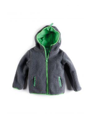 Fleece jakke - Sherpa Hoodie, grå
