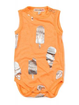 Body - Ice Cream Onesie Neon Orange, Oransj