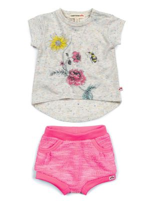 Minisett - Circle Tee Bubble Shorts Sett, Hvit og rosa