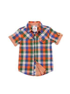 Kortermet skjorte - Harvey Shirt Check,  Oransj