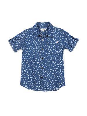 Kortermet skjorte - Toolbox Pattern Shirt, blå mønstret