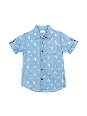 Kortermet Skjorte - Pattern Shirt Sandals, Lys blå