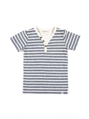T-skjorte - Heather Navy Stripe, Blå & hvit