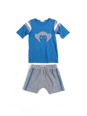 Shorts & T - Track Sett Mini, Blå og grå
